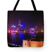 Hong Kong Skyline Tote Bag by Pixel  Chimp