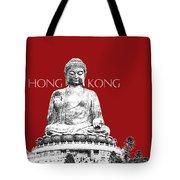 Hong Kong Skyline Tian Tan Buddha - Dark Red Tote Bag