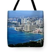 Honolulu And Waikiki From Diamond Head Tote Bag
