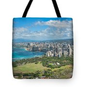 Honolulu From Diamond Head Crater Tote Bag