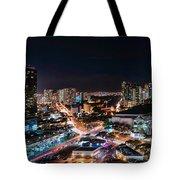 Honolulu Night Panorama Tote Bag
