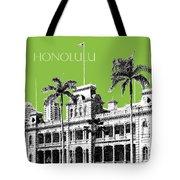 Honolulu Skyline Iolani Palace - Olive Tote Bag