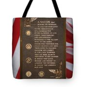 Honor The Veteran Signage With Flags 2 Panel Composite Digital Art Tote Bag