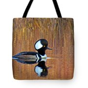 Hooded Merganser At Sunset Tote Bag