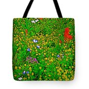 Hop Clover And Scarlet Paintbrush And Nodding Onion And Harebells Along Swiftcurrent Pass Trail-mt   Tote Bag