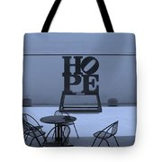 Hope And Chairs In Cyan Tote Bag