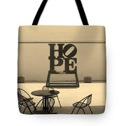 Hope And Chairs In Sepia Tote Bag