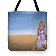 Girl In Wheat Field Tote Bag