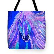 Horse Abstract Blue And Purple Tote Bag