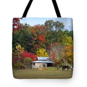 Horse And Barn In The Fall 3 Tote Bag