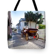 Horse And Buggy Ride St Augustine Tote Bag by Michelle Wiarda