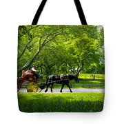 Horse And Carriage Central Park Tote Bag