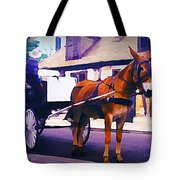 Horse And Carriage In Front Of Lafitte's Blacksmith Shop  Tote Bag