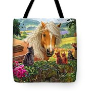 Horse And Cats Tote Bag