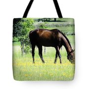 Horse And Flowers Tote Bag