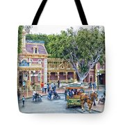 Horse And Trolley Turning Main Street Disneyland 01 Tote Bag