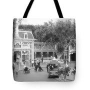Horse And Trolley Turning Main Street Disneyland Bw Tote Bag