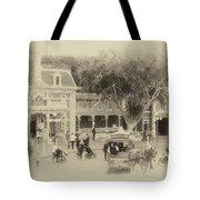 Horse And Trolley Turning Main Street Disneyland Heirloom Tote Bag
