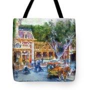 Horse And Trolley Turning Main Street Disneyland Photo Art 02 Tote Bag