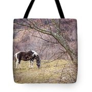 Horse And Winter Berries Tote Bag