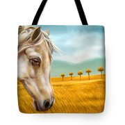 Horse At Yellow Paddy Field Tote Bag