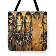 Horse Bridles Hanging In Stable Tote Bag