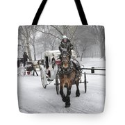 Horse Carriages In Snowy Park Tote Bag