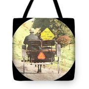 Horse Drawn Vechicles Round Tote Bag