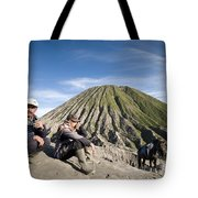 Horse Drivers Near A Volcano At Bromo Java Indonesia Tote Bag