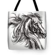 Horse Face Ink Sketch Drawing - Inventing A Horse Tote Bag