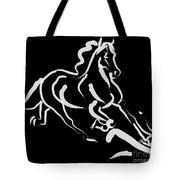 Horse - Fast Runner- Black And White Tote Bag