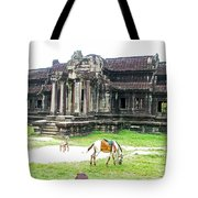 Horse In Front Of Outer Building In Angkor Wat In Angkin Angkor Wat Archeological Park-cambodia Tote Bag