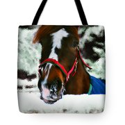 Horse In The Snow Tote Bag