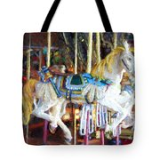 Horse On Carousel Tote Bag