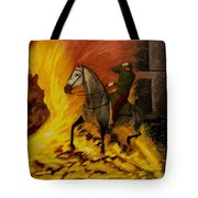Horse On The Fire Tote Bag