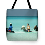 Horse Riders In The Surf Tote Bag