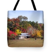 Horses And Barn In The Fall 2 Tote Bag