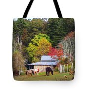 Horses And Barn In The Fall Tote Bag
