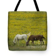 Horses And Wildflowers   #8511 Tote Bag