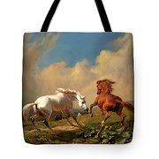 Horses Balking At Approaching Storm Tote Bag