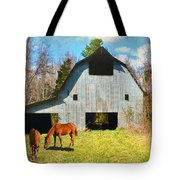 Horses Call This Old Barn Home Tote Bag