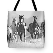 Horses Crest The Hill Tote Bag by Carol Walker