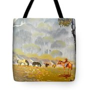Horses Drinking In The Early Morning Mist Tote Bag