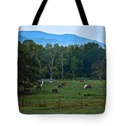 Horses Graze At Dawn Tote Bag