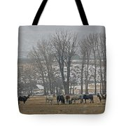 Horses In The Snow   #7940 Tote Bag