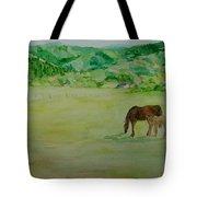 Horses Mare Foal Pastures Rural Landscape Original Art Oregon Western Artist K. Joann Russell Tote Bag