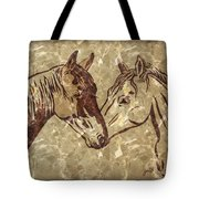 Horses On Marble Tote Bag