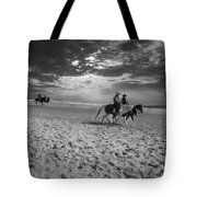 Horses On The Beach Bw Tote Bag