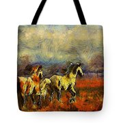 Horses On The Gogh Tote Bag