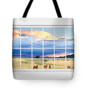 Horses On The Storm Large White Picture Window Frame View Tote Bag